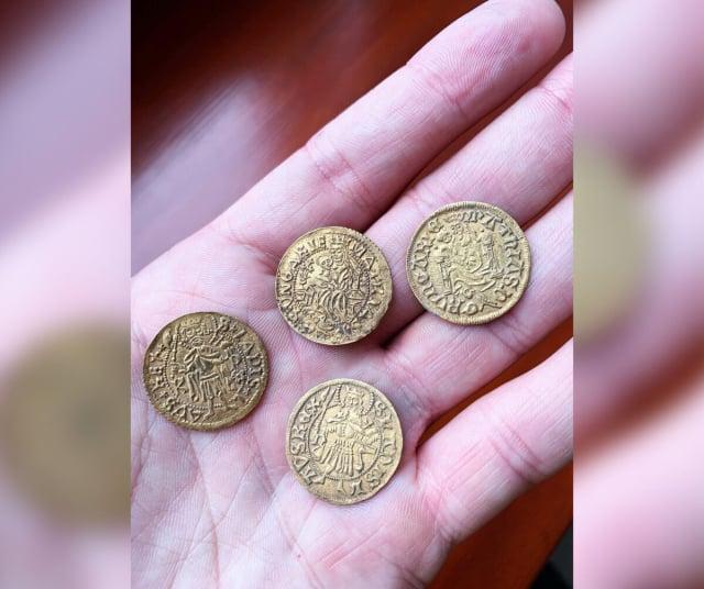 考古學家利用金屬探測器幸運地發現了四枚金幣。(費倫齊博物館中心提供)