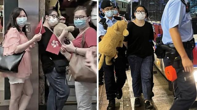左圖:《大紀元》記者1日下午拍到,黑衣女子手中抱著狗布偶,與兩名親共女子一起在地鐵出口駐留。(大紀元)右圖:親共人士在網上造謠稱警方拘捕的黑衣女子是法輪功學員。(網路圖片)( )