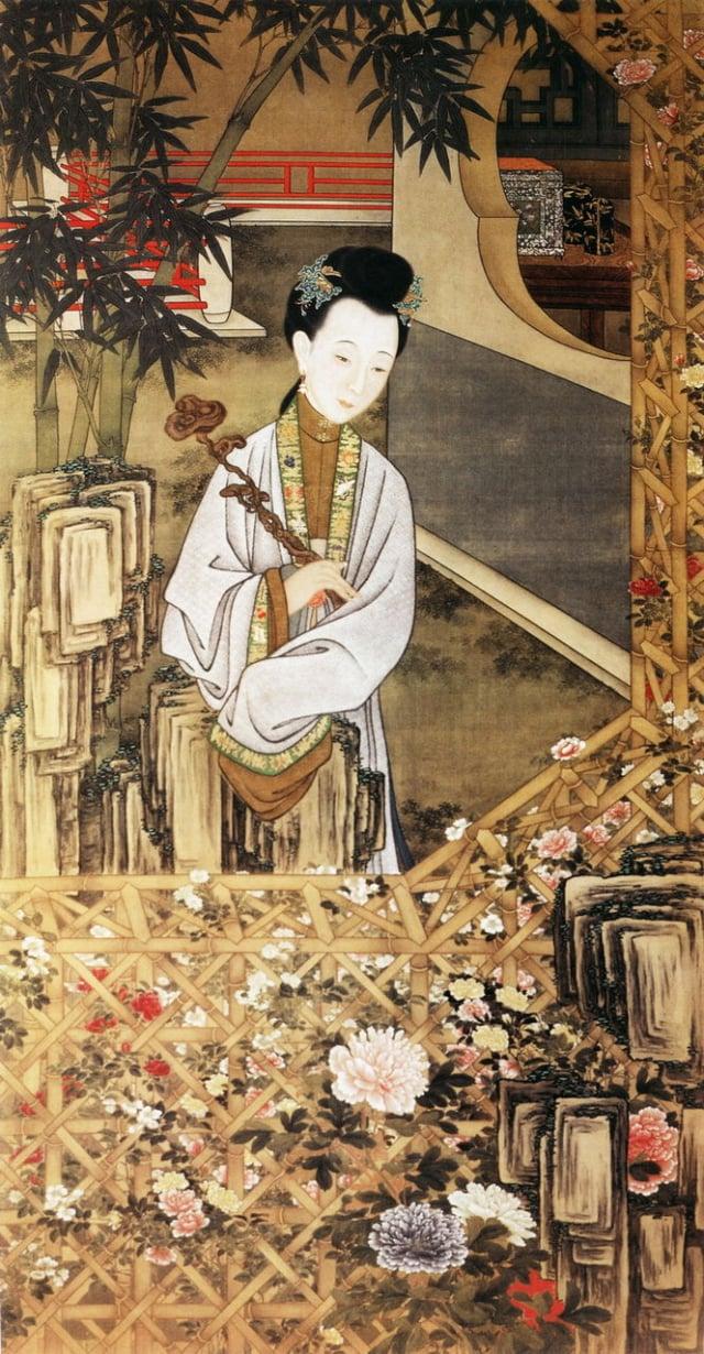 2.清.佚名,絹本《雍正十二美人圖》-立持如意(維基百科)