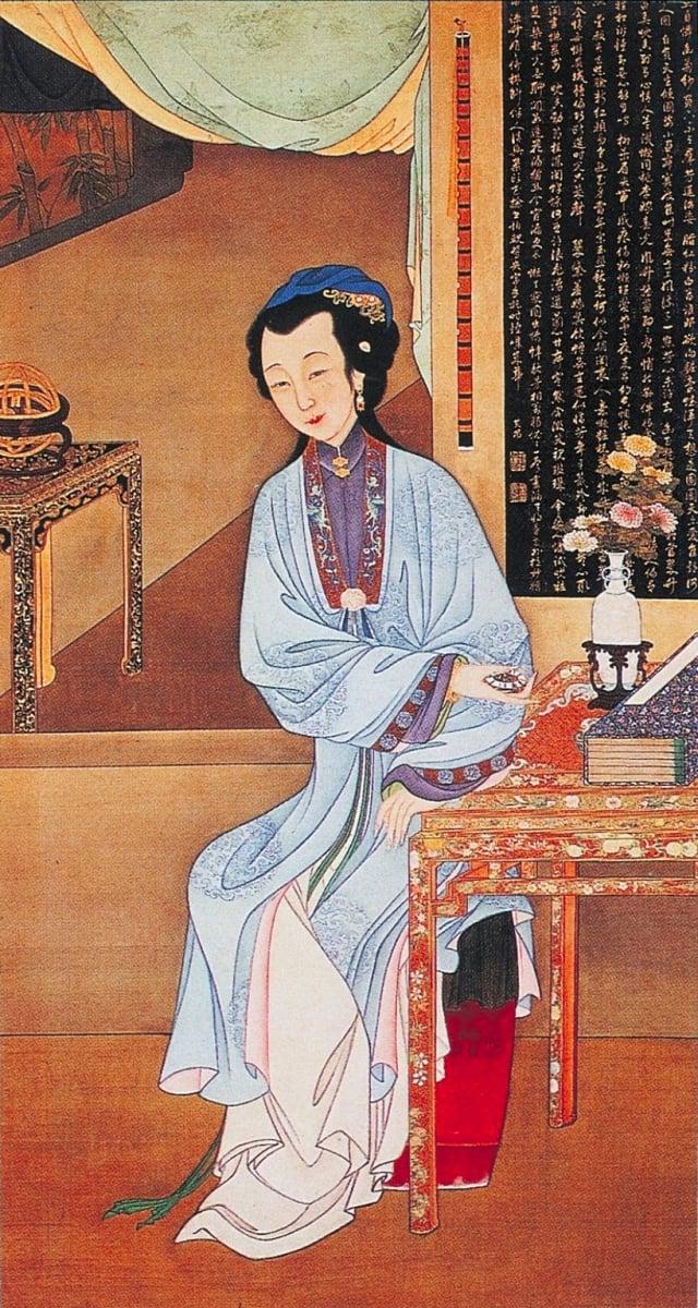 3.清.佚名,絹本《雍正十二美人圖》-持表對菊(維基百科)