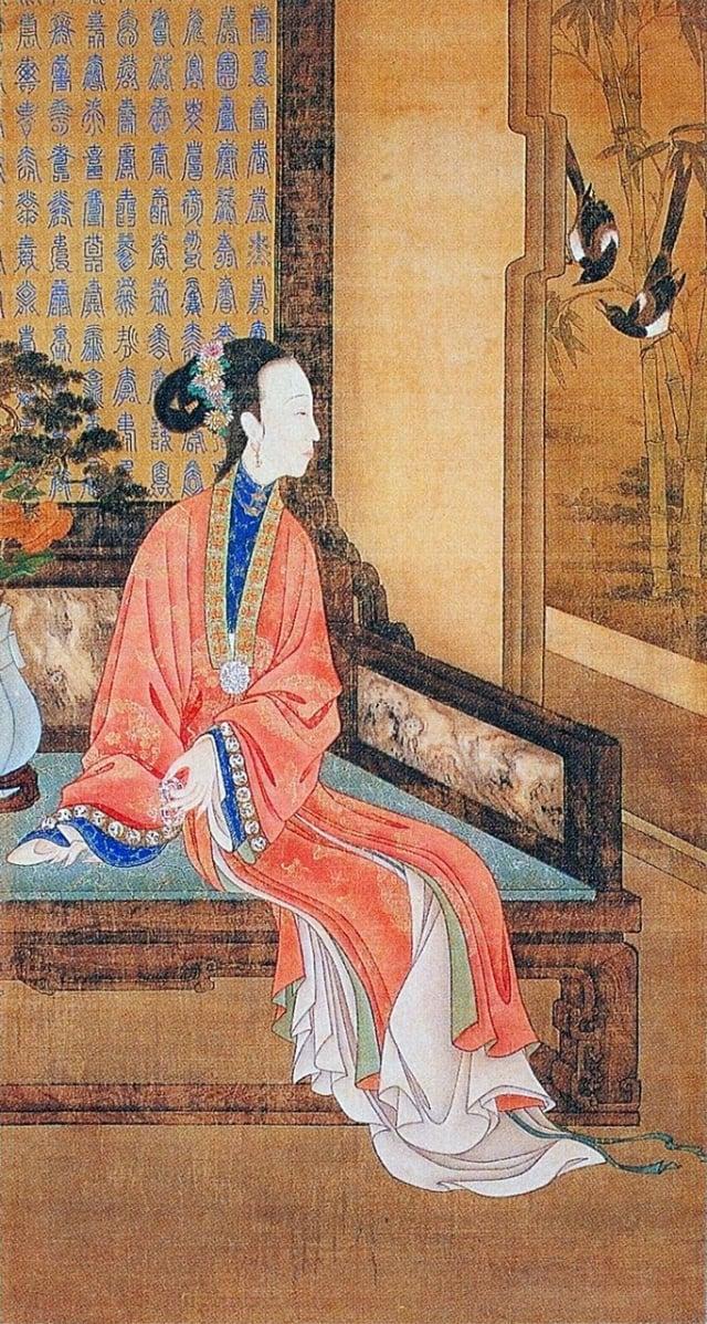 4.清.佚名,絹本《雍正十二美人圖》-倚榻觀鵲(維基百科)