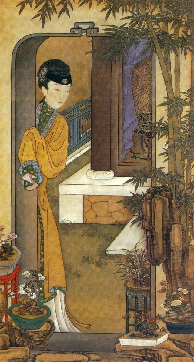 6.清.佚名,絹本《雍正十二美人圖》-倚門觀竹(維基百科)