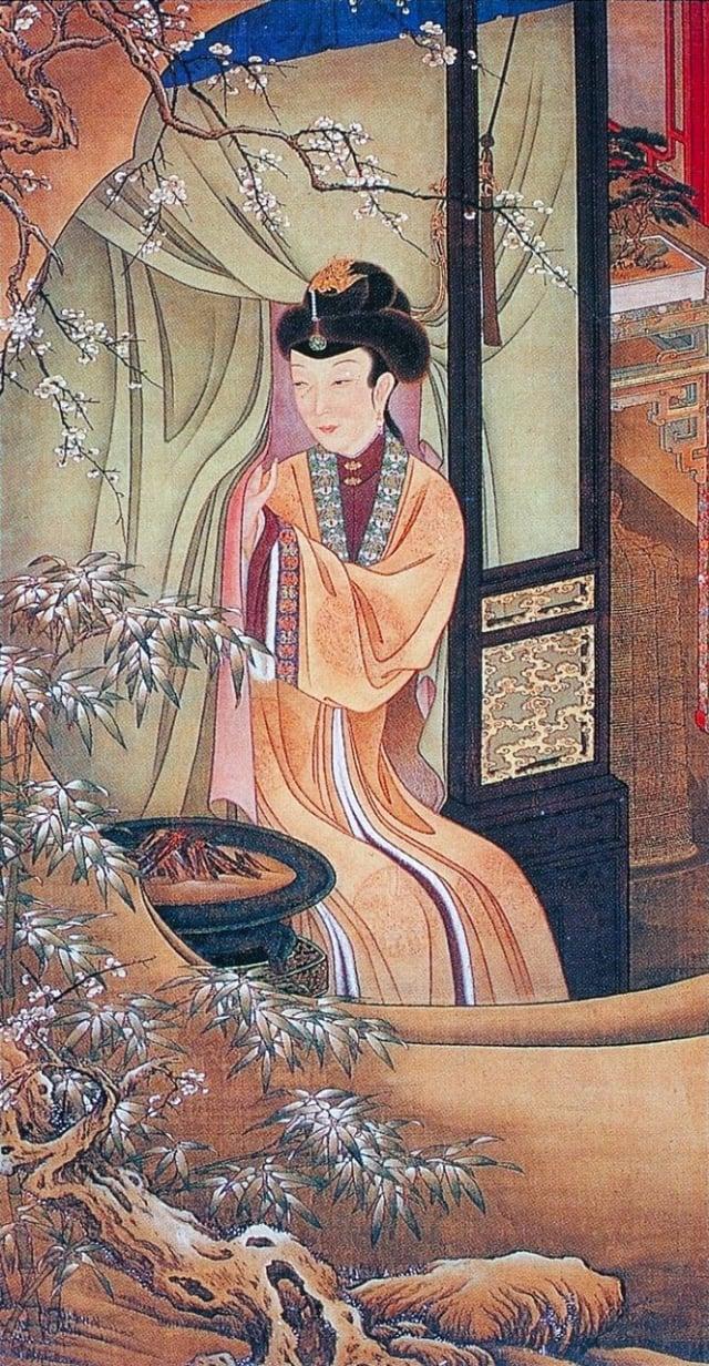 清.佚名,絹本《雍正十二美人圖》,烘爐觀雪。(維基百科)