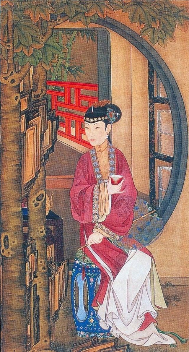 清.佚名,絹本《雍正十二美人圖》,桐蔭品茶。(維基百科)