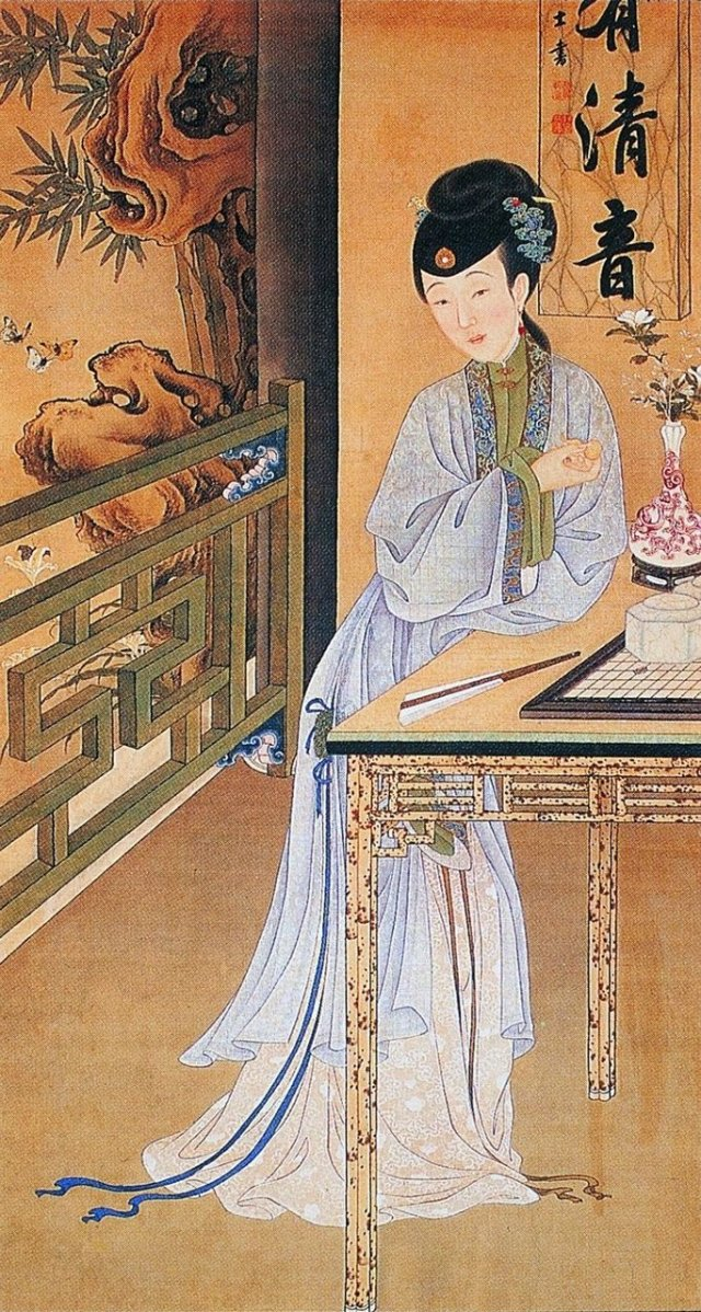 清.佚名,絹本《雍正十二美人圖》,消夏賞蝶。(維基百科)