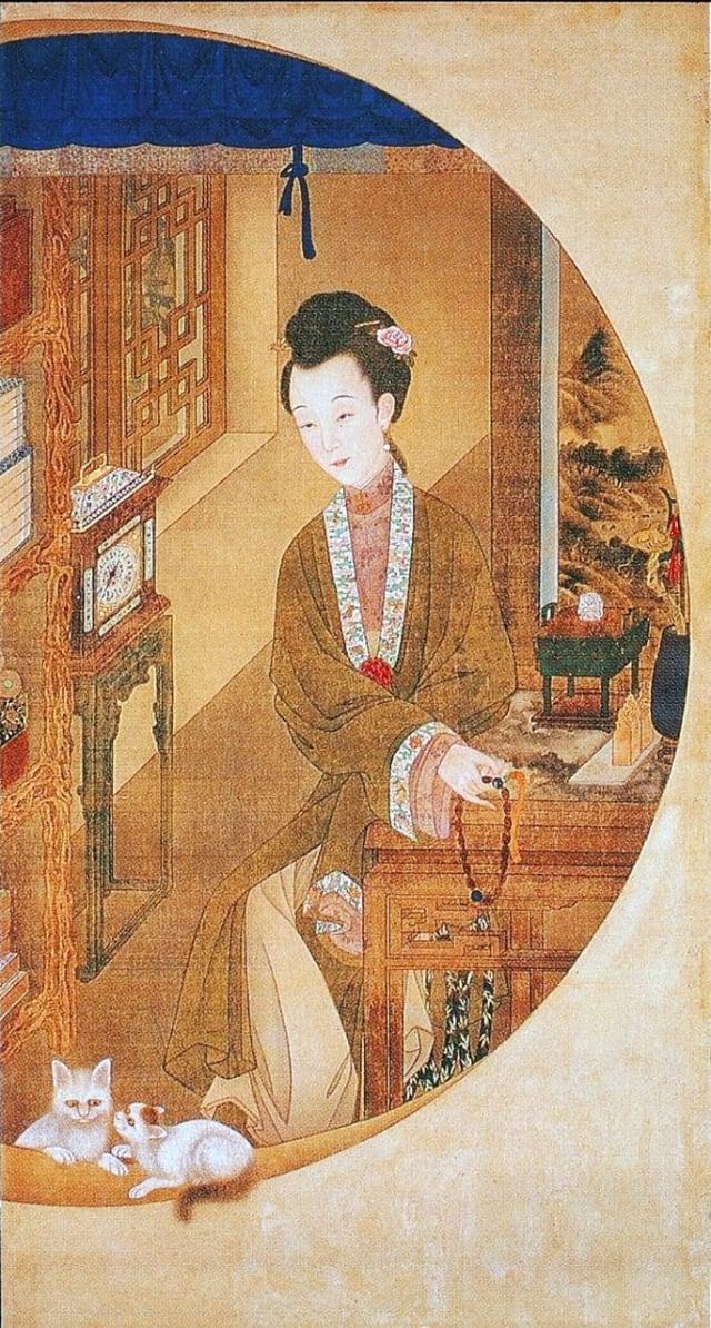 清.佚名,絹本《雍正十二美人圖》,捻珠觀貓。(維基百科)