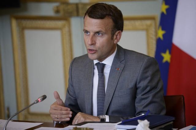 法國總統馬克宏7月19日在第五屆法國-大洋洲視訊峰會上發言。(YOAN VALAT/POOL/AFP via Getty Images)
