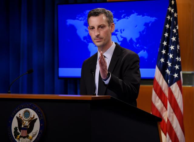 圖為美國國務院發言人普萊斯資料照。(OLIVIER DOULIERY/POOL/AFP via Getty Images)