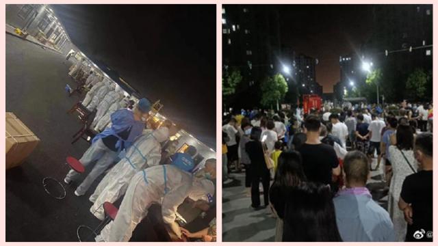 7月20日晚間,南京市民排隊進行核酸檢測。(微博圖片)