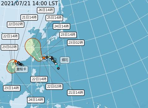今年第6號颱風「烟花」目前中心在臺北東南東方海面,持續向西移動。(中央氣象局提供)