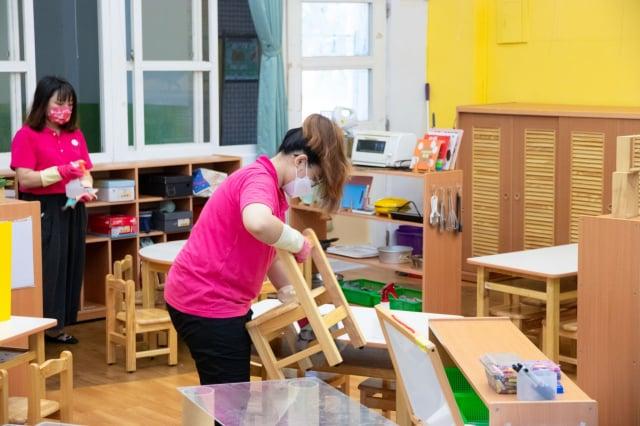 降二級警戒,中市765家幼兒園整備復課中。(台中市政府提供)