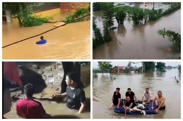 河南新鄉洪水成災,救援緩慢。(網路圖片)