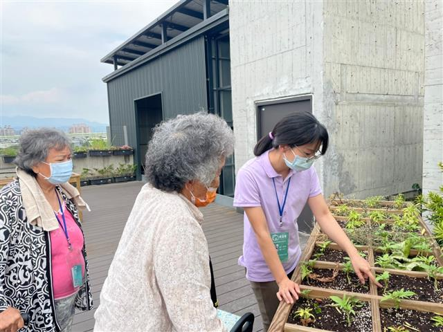 園藝輔療-向阿嬤介紹各種植物特性。(合勤共生宅提供)
