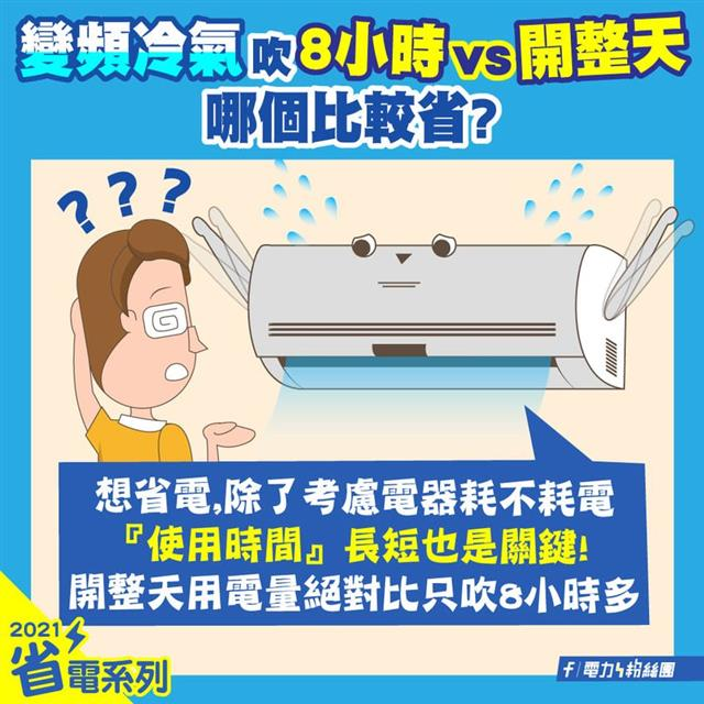 長時間無吹冷氣的需求時,建議還是要把冷氣關起來。(台電提供)
