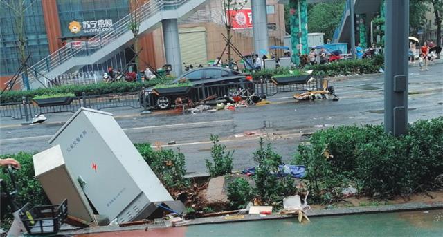 2021年7月中國鄭州水災後被損毀的街道。(wzl19371/公有領域)