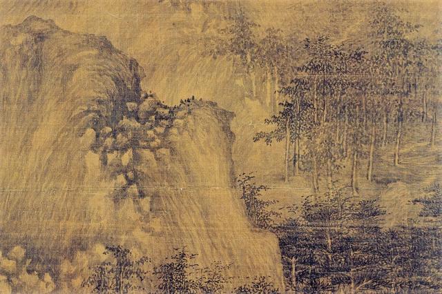 代十國南唐 巨然《層岩叢樹圖》局部。(維基百科)