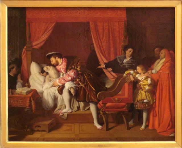 法王法蘭索瓦一世探望臨終的達文西。(公有領域)