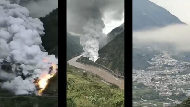 四川雅安黃磷洩漏自燃,白煙滾滾。(網路影片擷圖)