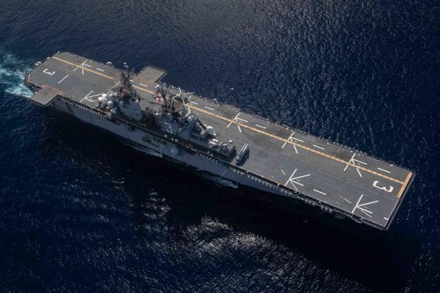美國奇爾沙治號兩棲攻擊艦8月14日赴印太地區,將參加「2021年全球大規模演習」。( Jesse Schwab/U.S. NAVY)