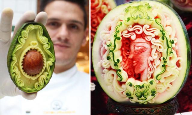 義大利年輕藝術家丹尼爾‧巴雷西擅長蔬果雕刻,在他精湛的雕工下,將原本平凡的蔬果轉變成栩栩如生的鳥類及花朵等各式雕刻作品。(巴雷西提供)