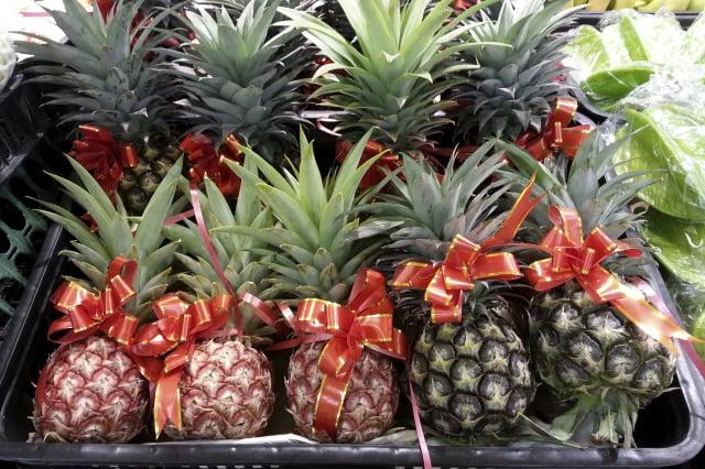 臺灣目前外流至中國的品種作物有鳳梨、釋迦、茶等作物。今年3月,中共宣布暫緩進口臺灣鳳梨,卻行銷當地栽種、由臺灣育成的金鑽鳳梨。(記者蘇玉芬/攝影)