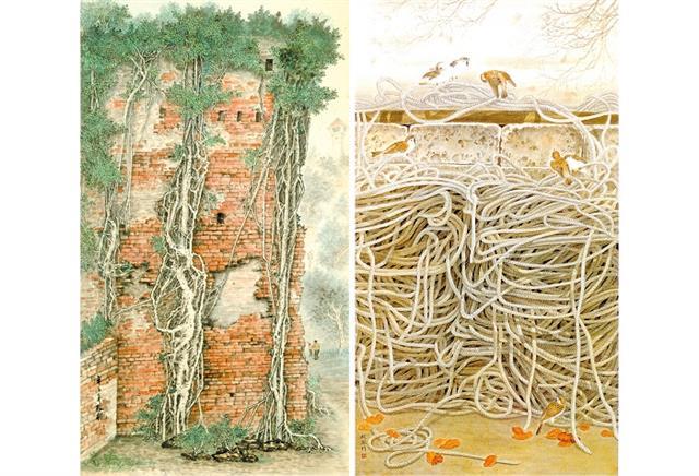 左:作品《歲月刻痕》。右:作品《港邊憶舊》。(沈政乾提供)