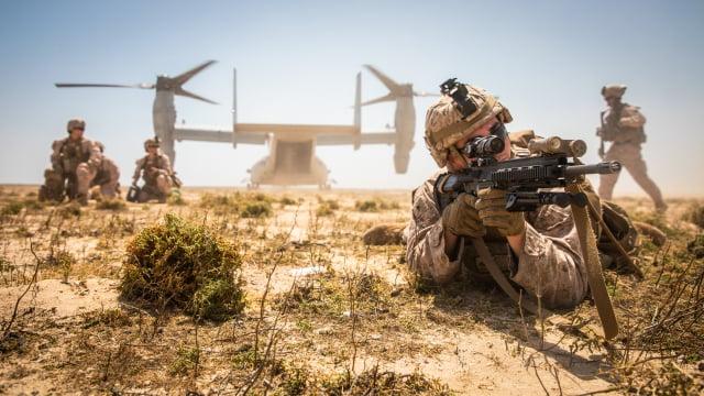 外媒稱美國海軍陸戰隊和特種部隊在臺灣輪流訓練臺灣軍隊,已持續一年多。圖為美國海軍陸戰隊在中東演訓。(美國海軍陸戰隊Flickr)