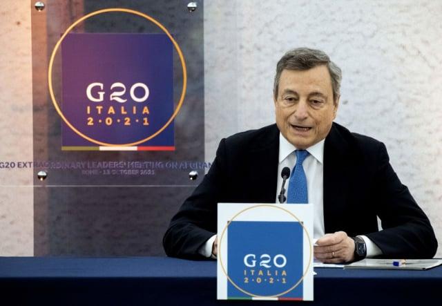 義大利總理德拉吉10月12日主持了20國集團特別峰會,討論阿富汗問題。(TIZIANA FABI/AFP via Getty Images)
